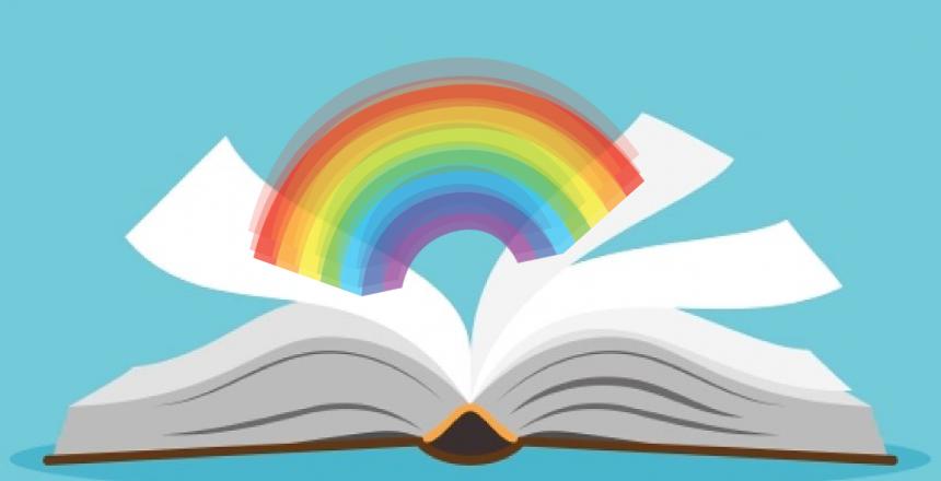 Libro con arcobaleno